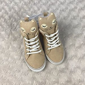 Old Navy High Top Kitty Cat Sneakers Shoes Tan